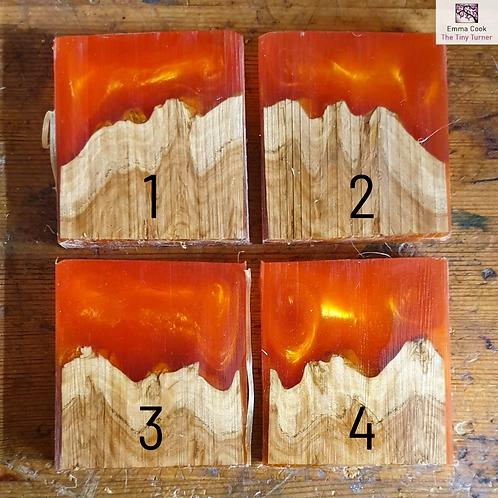 """Single 2"""" Hybrid Pendant Blank - Bright Orange/Gold Shimmer 'Sunset'"""