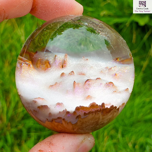 Mini Hand-Turned Resin/Red Mallee Burr Sphere - Clear Resin and Unicorn Snow!