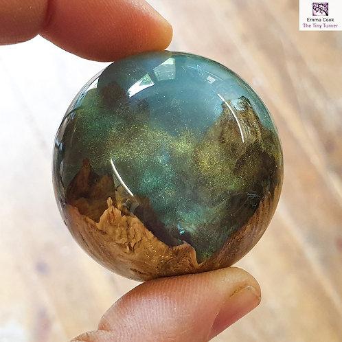 *Slight Flaw* Micro Resin/Oak Burr Sphere - Pale Blue Resin & Gold Shimmer