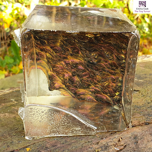 """3"""" Hybrid 'Spherescape' Blank - Clear Resin with Rust/Gold Colour S"""