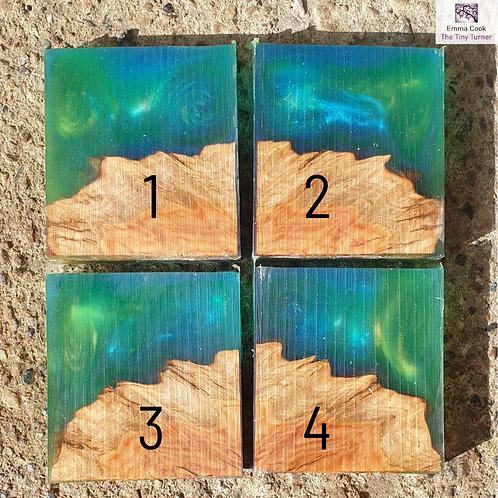 """Single 2"""" Hybrid Pendant Blank - Green and Blue Shimmer 'Ocean'"""