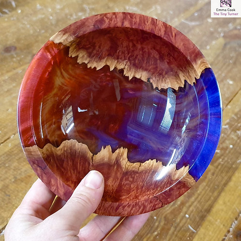 Hand-Turned Resin/Red Mallee 'River Bowl' - Purple and Red
