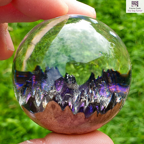 Mini Hand-Turned 'Spherescape' - Clear Resin & Purple/Gold/Silver Shimmer