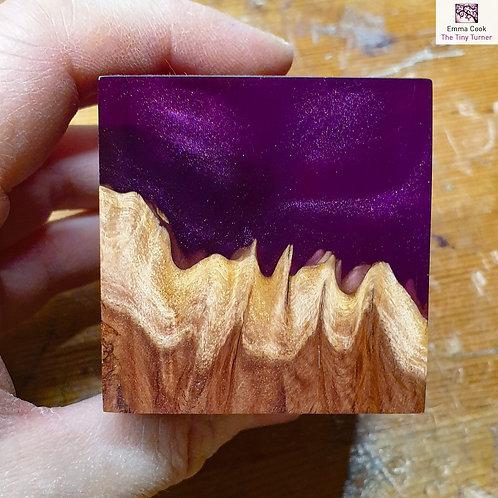 Mini Resin/Red Mallee Burr Cube - Plum Resin & Plum Shimmer
