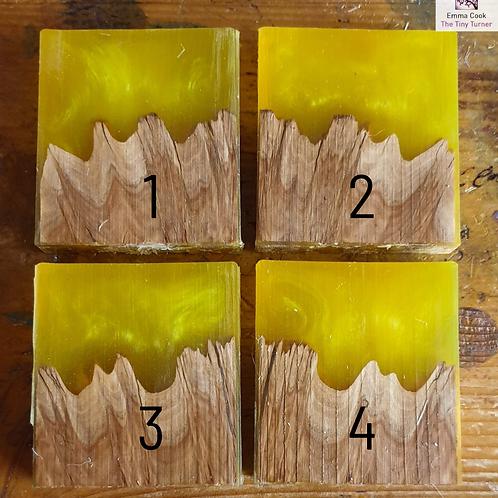 "Single 2"" Hybrid Pendant Blank - Yellow/Lime Shimmer 'Mojito'"