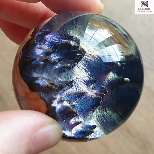 Mini Hand-Turned 'Spherescape' - Clear Resin & Blue/Purple Shimmer
