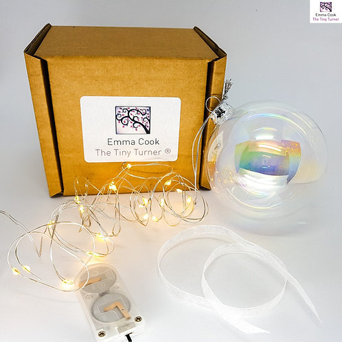 DIY Bauble Kit for Woodturners (Silver Wire; Warm White LEDs)