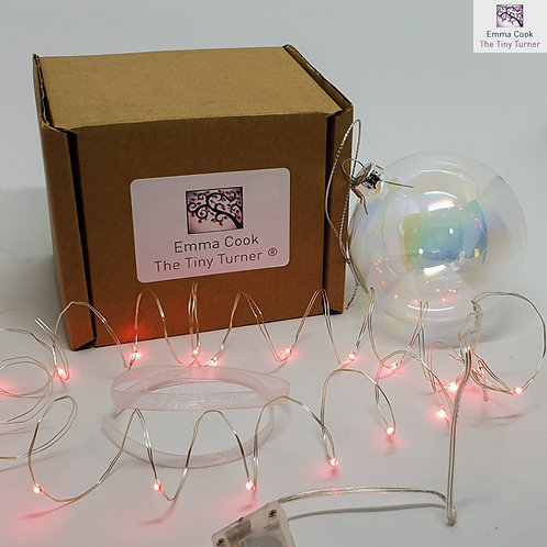 DIY Bauble Kit for Woodturners (Silver Wire; Red LEDs)