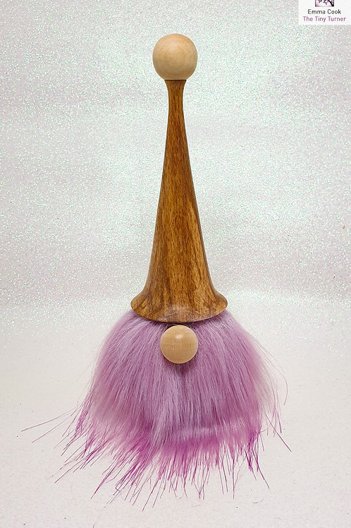 Hand-Turned Gonk with Coloured Beech Hat and Lilac Faux Fur Beard