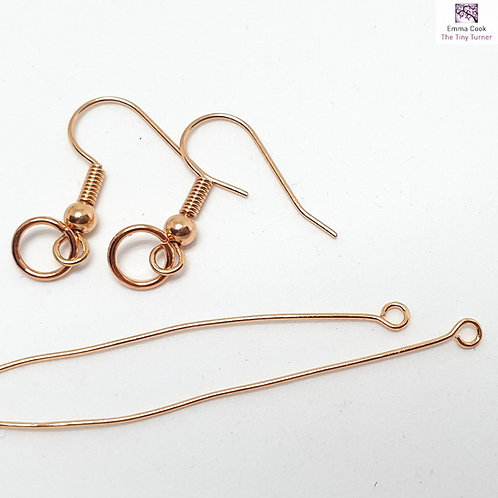 1 Pair of Ear Hooks with Matching Jump Rings & Eye Pins