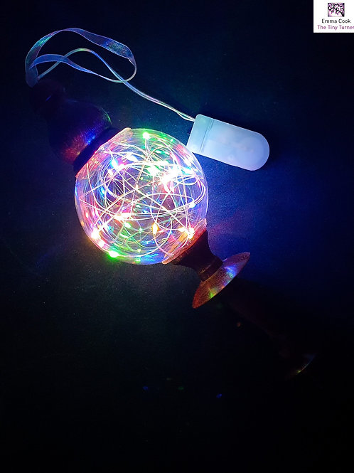 Padauk Hanging Ornament with Multicoloured LED Fairy Lights