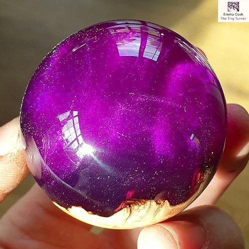 Mini Hand-Turned Resin/Burr Sphere - Violet Resin & Purple Shimmer