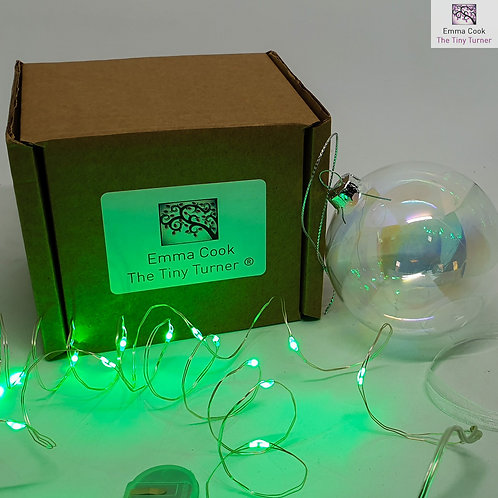 DIY Bauble Kit for Woodturners (Silver Wire; Green LEDs)