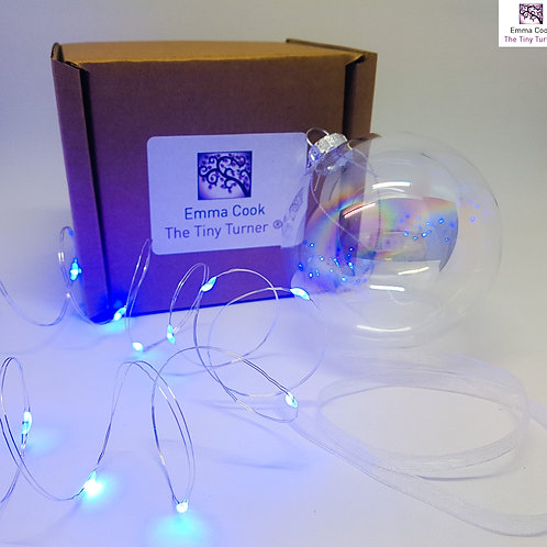 DIY Bauble Kit for Woodturners (Silver Wire; Blue LEDs)