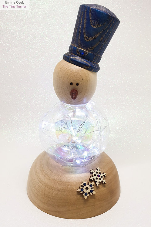 Snowman Ornament with Cold White LEDs on a Sycamore Base