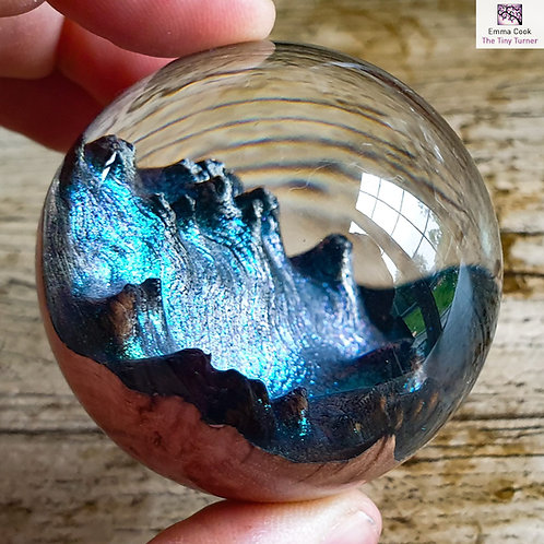 Mini Hand-Turned 'Spherescape' - Clear Resin & Blue/Green/Purple Shimmer