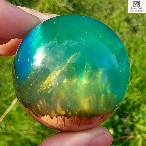 Mini Hand-Turned Resin/Burr Sphere - Green & Blue Resins with Gold & Blue S