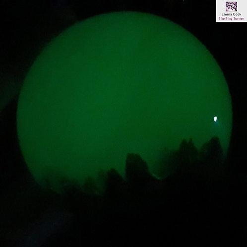 Mini Hand-Turned Resin/Burr Sphere - Glow-in-the-Dark Green Resin