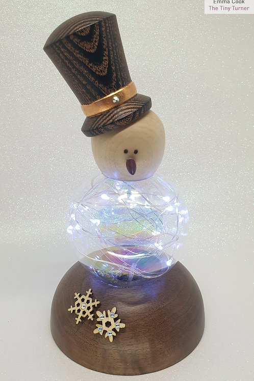 Snowman Ornament with Cold White LEDs on an English Walnut Base