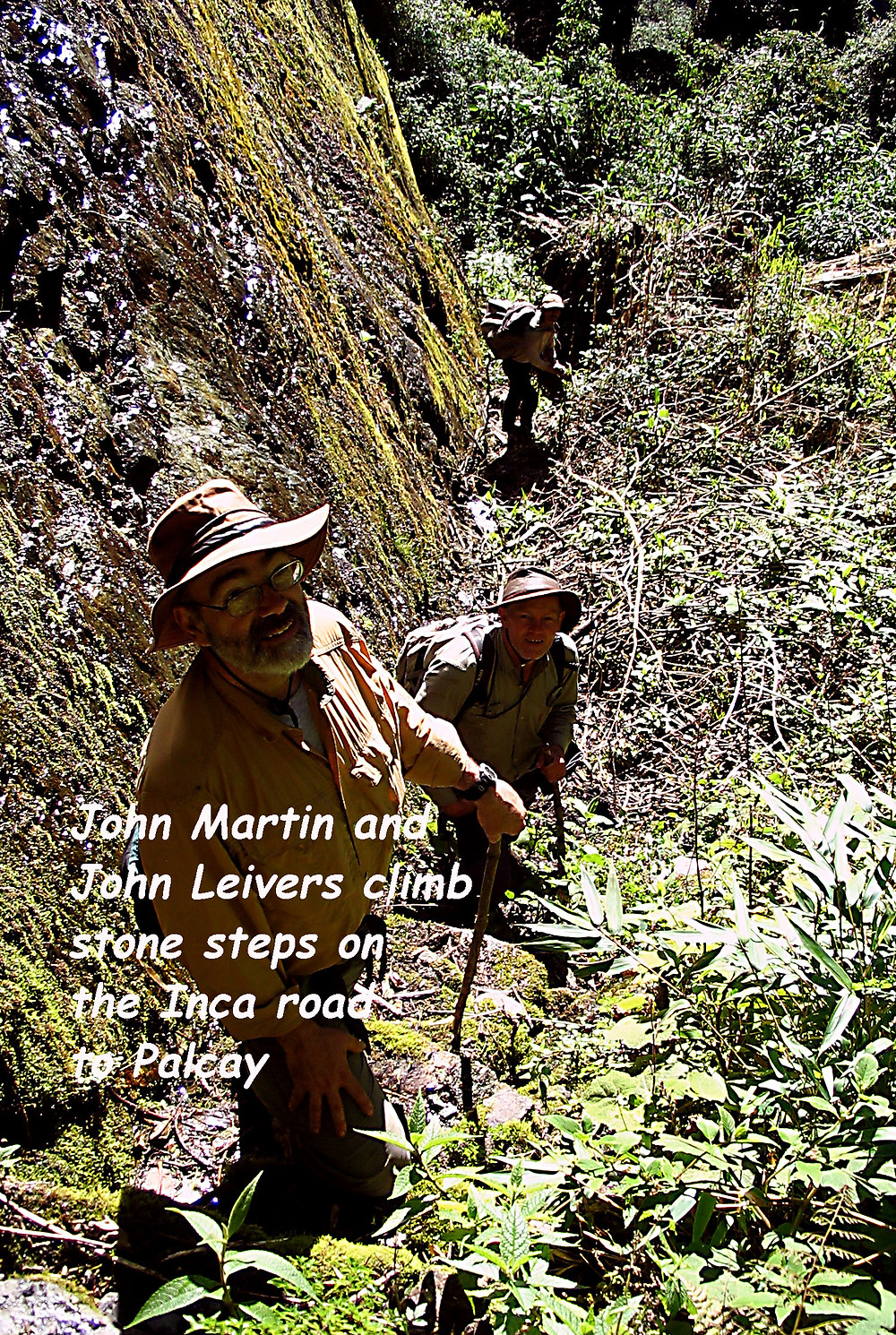 John Martin and John Leivers on the Inca trail to Palcay from Machu Picchu