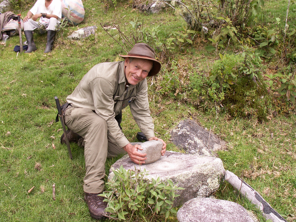 John Leivers with an Inca grinding stone