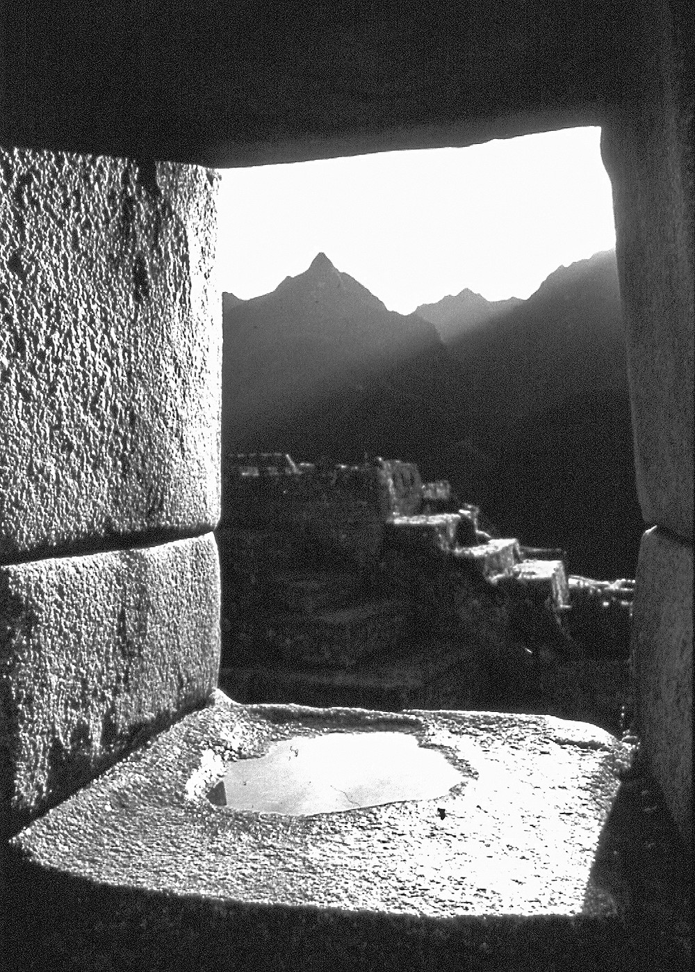 The sacred Apu peak, Yanatin seen from the Temple of  Three windows at Machu Picchu