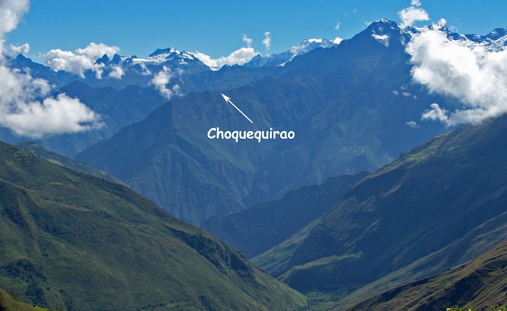 Choquequirao is on a steep spur of a Vilcabamba  Peak  five thousand feet above the Apurimac River