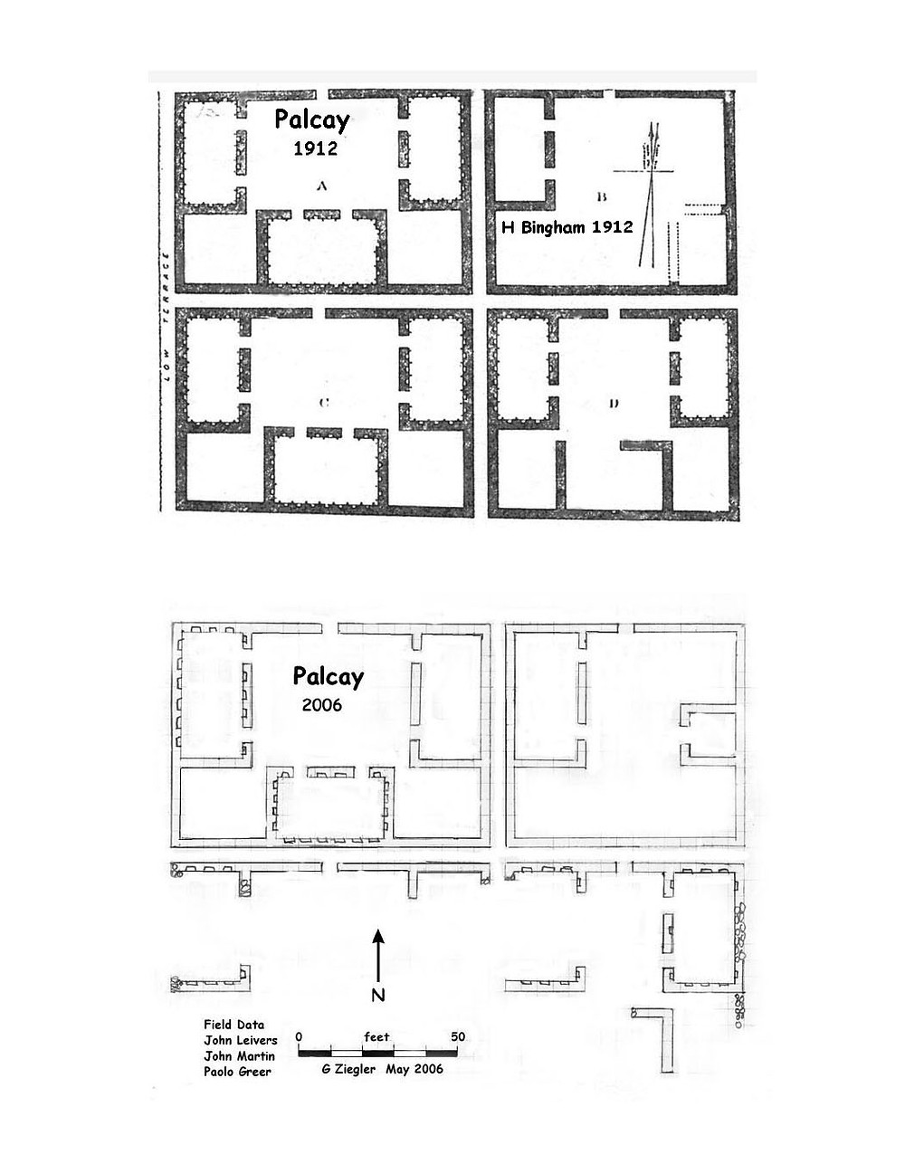 Our site plan compared with Hiram Bingham's 1912 plan