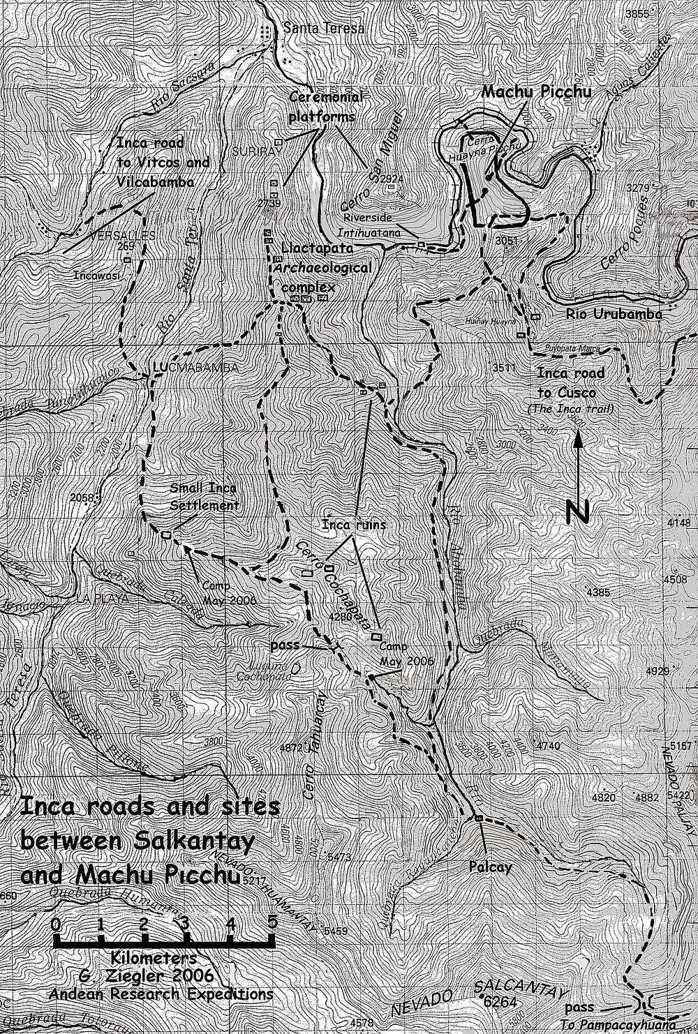 map of Inca roads (trails) to Machu Picchu, Llactapata and Palcay