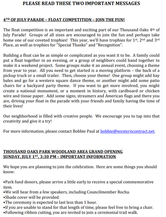 4TH OF JULY FLOAT COMPETITION & PARK GRAND OPENING DETAILS
