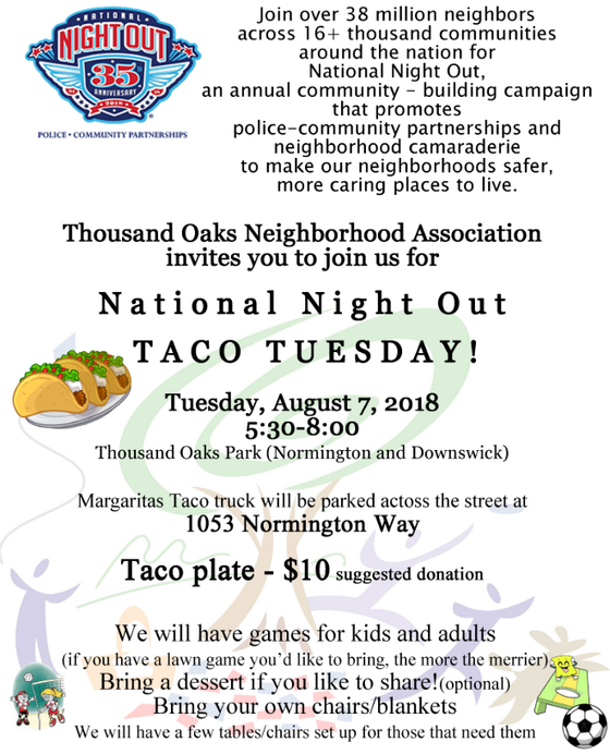 National Night Out Taco Tuesday - Save the Date - August 7