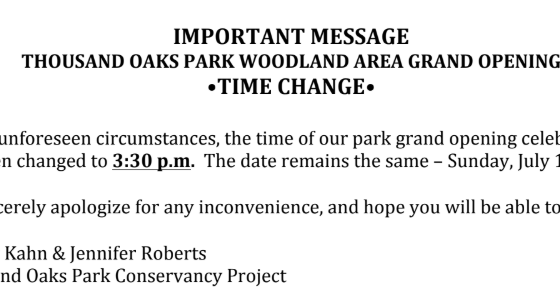 Time Change - Thousand Oaks Park Woodland Area Grand Opening