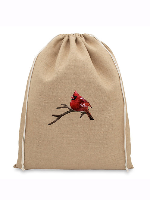 Natural Jute Christmas Bag - Bird