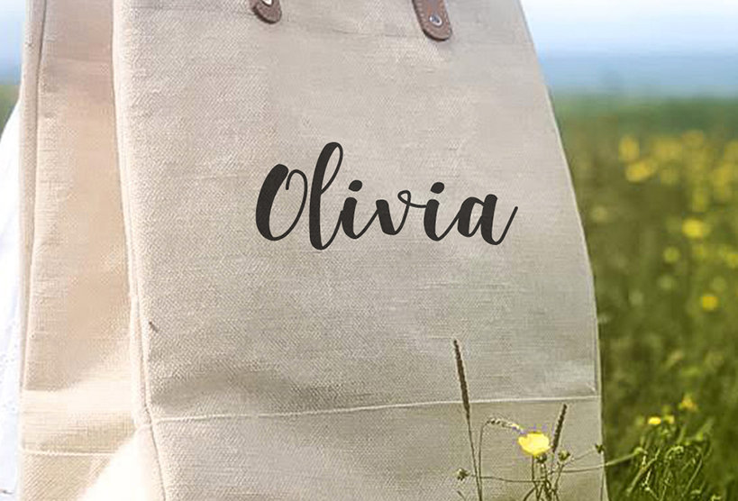 Large Luxury Natural Juco Shoulder Bag - Name