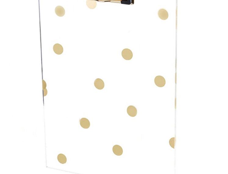Acrylic Clipboard with Gold Dots