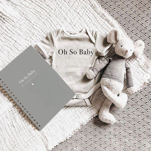 Oh So Baby - The first five years journal - Grey and white foil