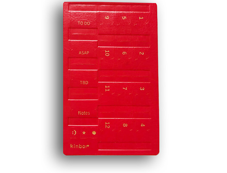 Leather Self Adhesive Index Tabs - Red