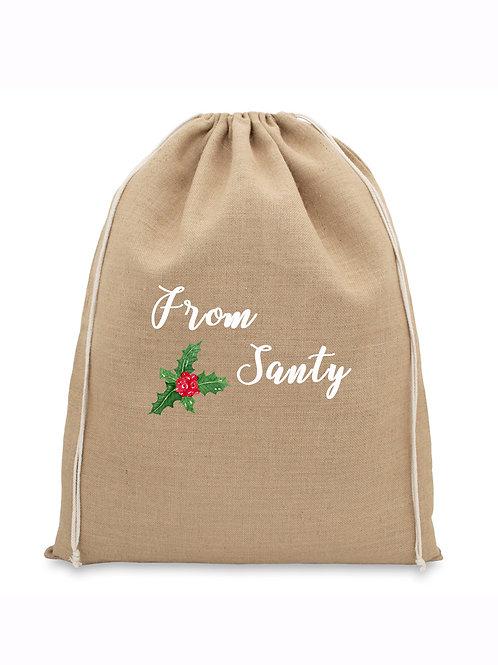 Natural Jute Christmas Bag - From Santy
