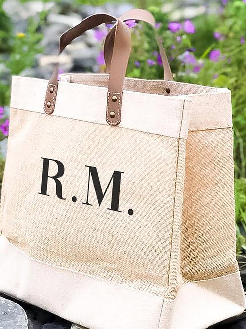 Jute Bag Natural - Personalised Monogrammed