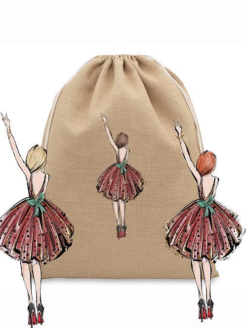 Natural Jute Christmas Bag - Girl