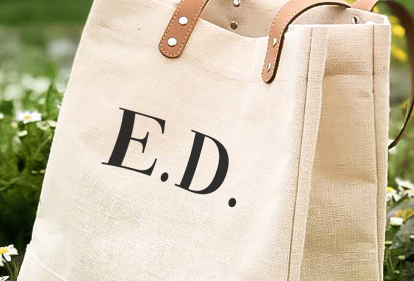 Large Luxury Natural Juco Shoulder Bag -Initials