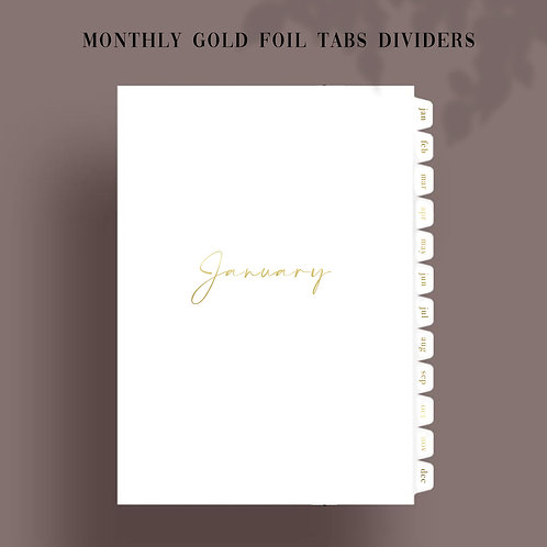 Gold Foil Monthly Tab Dividers