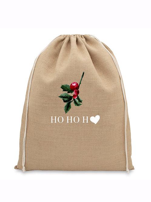 Natural Jute Christmas Bag - HO HO HO