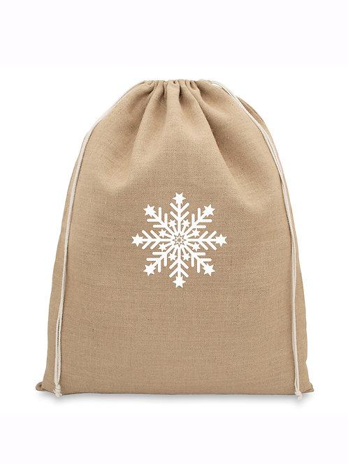 Natural Jute Christmas Bag - Snowflake