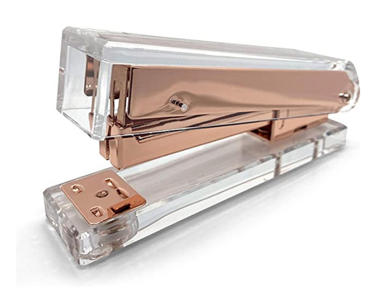 Clear Acrylic Rose Gold Manual Stapler