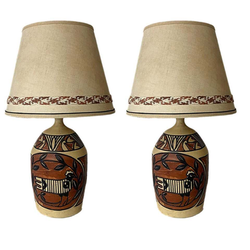 Monumental Aztec Style Lamps