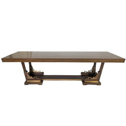 large Library table 1950s w Brass
