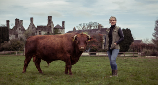 Bull & I. Portrait of Eavaun Carmody with her Dexter Bull at Killenure Castle.