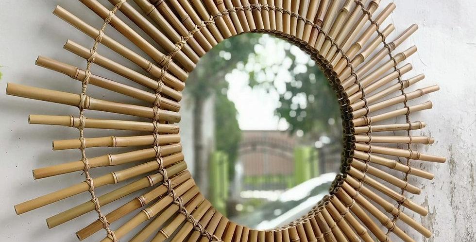 Bamboo Round Mirror