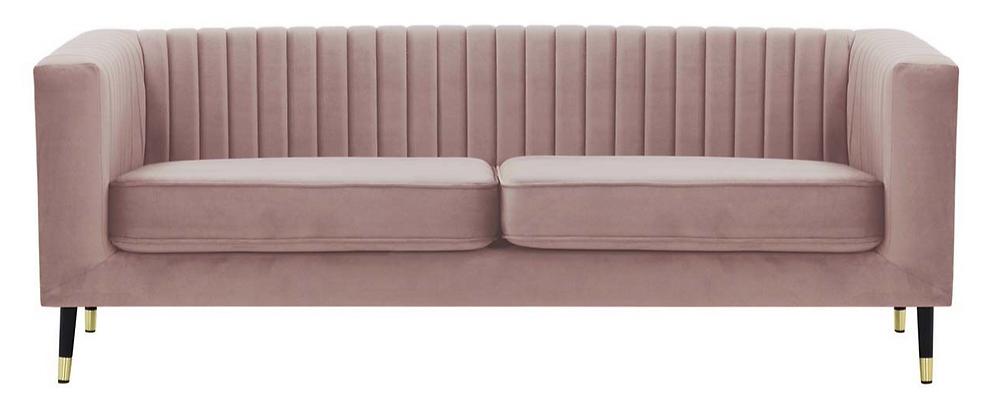 SLF24 Dusky Pink Fluted 3 Seater Sofa